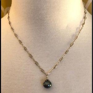 Black Pearl Pendant Necklace